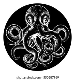 An original octopus or squid tattoo illustration concept design in a retro vintage woodcut engraved etched style