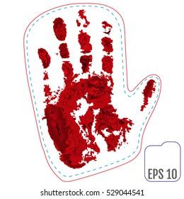 Original patch, badge with blood winter mitten of Santa. Vector illustration.