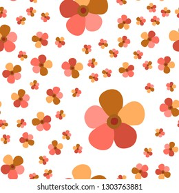 Original Pattern with Flowers Living Coral color. For your design, textile, pattern fills, posters, cards, background etc. Elements are not cropped. Pattern under the mask. Vector.