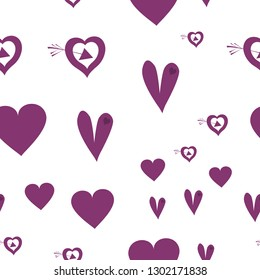 Original Pattern with Hearts Dark moderate pink color. Endless pattern can be used for design, textile,  pattern fills, posters, cards, web page background etc. Pattern under the mask. Vector.