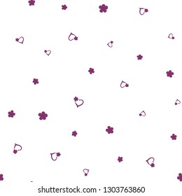 Original Pattern with Hearts and Flowers Dark moderate pink color. For your design, textile, pattern fills, posters, cards, background etc. Elements are not cropped. Pattern under the mask. Vector.
