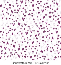 Original Pattern with Hearts and Stars Dark moderate pink color. This pattern can be used for design, textile,  pattern fills, posters, cards, web page background etc. Pattern under the mask. Vector.