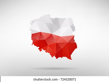 Original Poland map vector illustration with abstract flag background