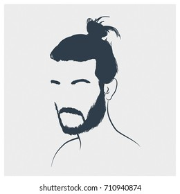 Original portrait of a man with beard and bun. Pencil sketch over white background.