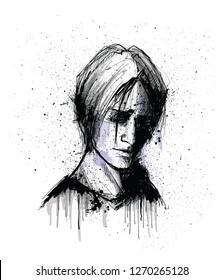 original portrait of a man face - vector illustration
