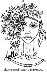 Original portrait of young woman with flower arrangement on her head. Digital stamp. Coloring. Vector.