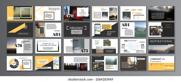 Original Presentation templates or corporate booklet. Easy Use in creative flyer and style info banner, trendy strategy mockup. Simple modern Slideshow or Startup. ppt.