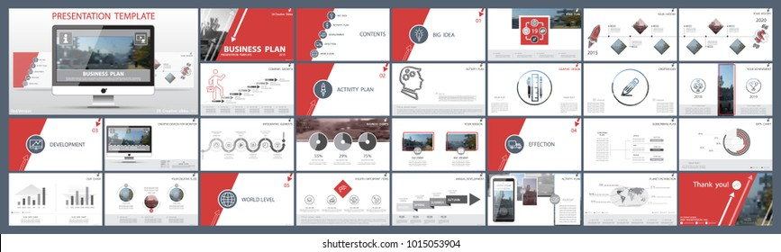 Original presentation templates.Set of red, elements of infographics, white background. Flier, postcard, corporate report, marketing, advertising, banner.Slide show, photo,slide for brochure,booklet