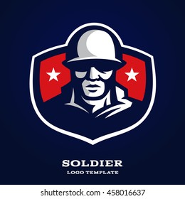 Original and professional logo | mascot template with image of soldier in helmet.