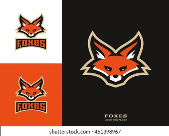 Original and professional sports logo template with fox mascot.