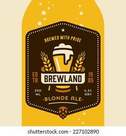 Original retro home brew beer bottle label design concept