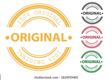 Original rubber stamp and certified quality rubber seal stamps set. Original round isolated sign original seal. Vector illustration
