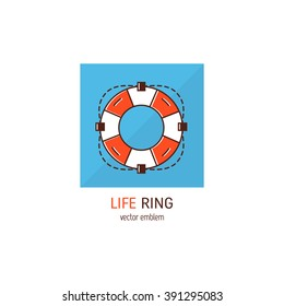 Original save life concept. Line style logotype template with life ring icon. Isolated on blue background and easy to use. Perfect logo for your business. Clean and minimalistic symbol.