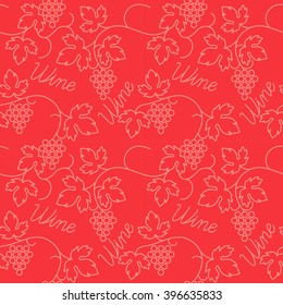 Original seamless flat pattern with grapes and text wine. Vector illustrate.