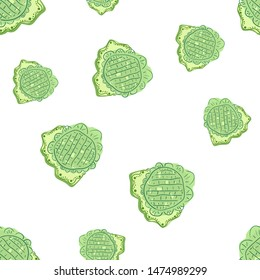 Original Seamless pattern with flowers green. Can be used for printing on packaging, bags, cups, laptop, box, etc. Pattern under the mask. Vector.