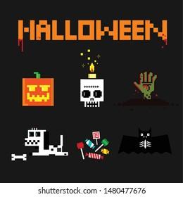 Original set. Halloween elements. Pixel art 8 bit. Icons and objects. Vector illustration.
