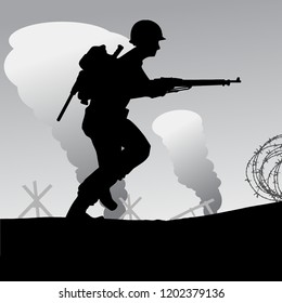 Original silhouette illustration. US Infantry storm the Normandy beach. The allied D-Day invasion of Europe in 1944.