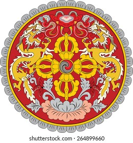 original and simple Bhutan Emblem isolated vector in official colors and Proportion Correctly