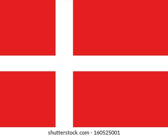 original and simple Denmark flag isolated vector in official colors and Proportion Correctly