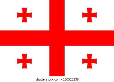 original and simple  Georgia flag / Five Cross Flag isolated vector in official colors and Proportion Correctly