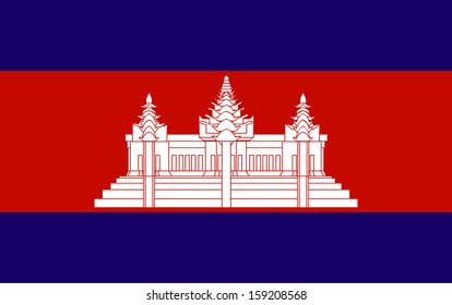 original and simple Kingdom of Combodia flag isolated vector in official colors  and Proportion Correctly The Combodia is a member of Asean Economic Community (AEC)