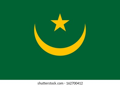original and simple Mauritania flag isolated vector in official colors and Proportion Correctly