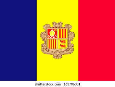 original and simple The Principality of Andorra flag isolated vector in official colors and Proportion Correctly