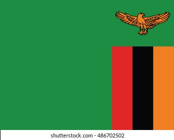 original and simple Republic of Zambia flag isolated vector in official colors and Proportion Correctly