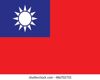 original and simple Taiwan flag isolated vector in official colors and Proportion Correctly