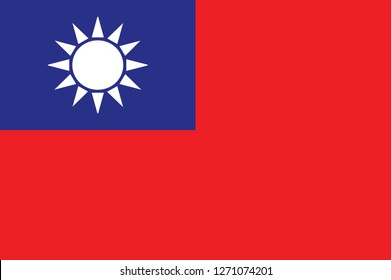 original and simple Taiwan / Republic of China flag isolated vector in official colors and Proportion Correctly . Flag of Taiwan. Vector. Accurate dimensions, element proportions and colors.