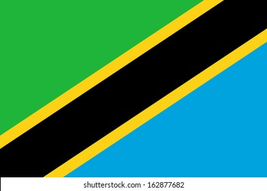original and simple Tanzania flag isolated vector in official colors and Proportion Correctly