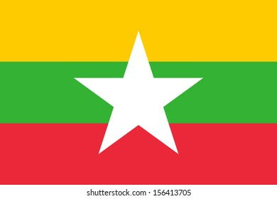 original and simple Union of Myanmar or Burma flag isolated vector in official colors  and Proportion Correctly The Myanmar or Burma is a member of Asean Economic Community (AEC)