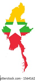 original and simple Union of Myanmar or Burma map and flag isolated vector in official colors on white background The Myanmar or Burma is a member of Asean Economic Community (AEC)