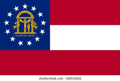 original and simple U.S. state of Georgia / the United States of America State Georgia flag isolated vector in official colors and Proportion Correctly