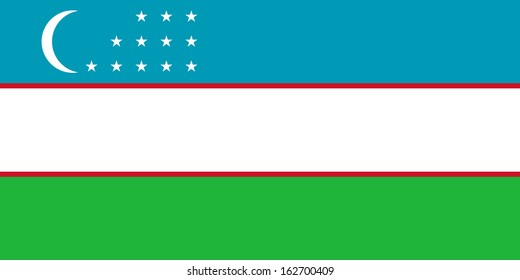 original and simple Uzbekistan flag isolated vector in official colors and Proportion Correctly