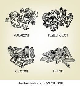 Original sketch of different kinds of pasta. Vector illustration, graphic design. Realistic shapes of macaroni used for advertising dough goods or restaurant menu.
