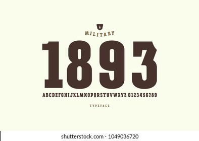 Original slab serif font. Bold face. Letters and numbers for logo and emblem design. Print on white background