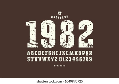 Original slab serif font. Bold face. Letters and numbers with rough texture for logo and emblem design. White print on brown background