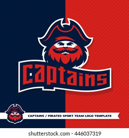 Original sport logo template with image of the pirate. Captain. Mascot. Sailor.