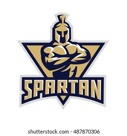 Original sports logo template with the image of a muscular warrior spartan.