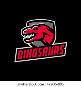 Original sports logo template with the image of the dinosaur in the background of the shield. Tyrannosaur logo and mascot for sport team, gym, company.
