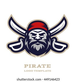 Original sports logo template with pirate | captain mascot