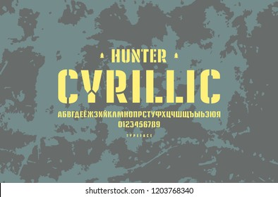 Original stencil-plate sans serif font. Cyrillic letters and numbers for logo and emblem design. Yellow print on rust metal texture background