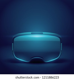 Original stereoscopic 3d vr headset presentation. Front view on futuristic background. Vector illustration