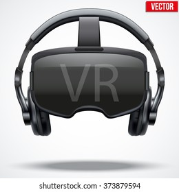 Original stereoscopic 3d vr mask with headphones. Front view. Vector illustration Isolated on white background.