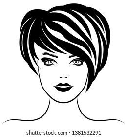 Original stylized graphic illustration of woman's face with abstract luxuriant hair and with distinctive eyes, vector for cosmetic products design
