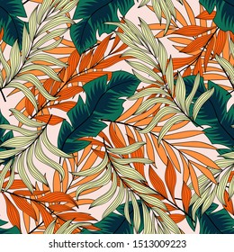 Original summer seamless tropical pattern with green and beige leaves and plants on a white background. Jungle leaf seamless vector floral pattern background. Tropical botanical.