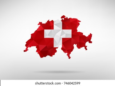 Original Swiss map vector illustration with abstract flag background