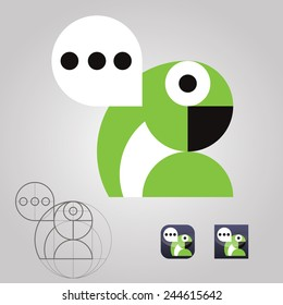 original talking parrot logo icon communication messages vector illustration