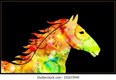 original textured horse's head in profile